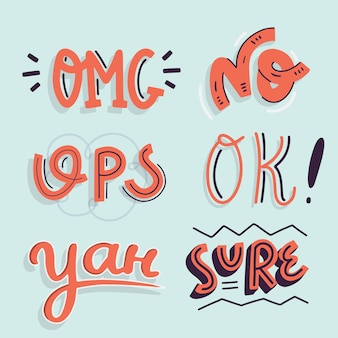 Onomatopoeia lettering in vintage style