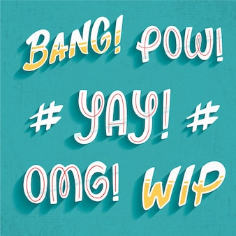 Onomatopoeias and expressions lettering collection in retro style