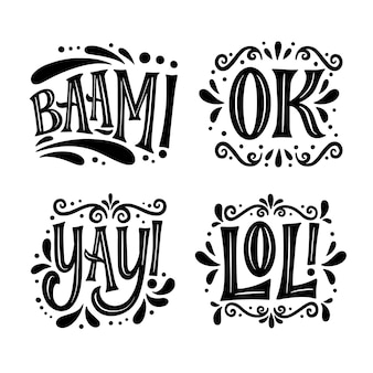 Onomatopoeias lettering collection
