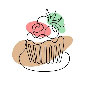 ベリーとケーキの連続した1行のアート。手描きのロゴ。カフェとパン屋のコンセプト。白い背景で隔離のベクトルイラスト。
