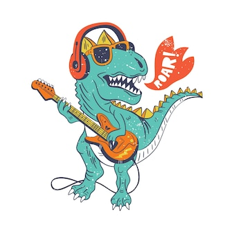 Ool dinosaur playing guitar drawing illustration