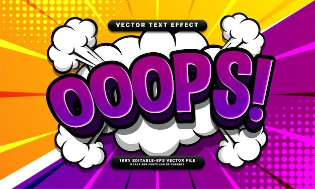 Редактируемый текстовый эффект ooops, подходящий для концепции мультяшного стиля
