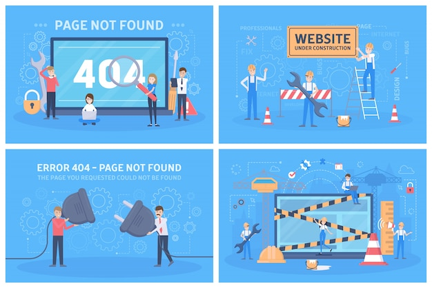 Oops 404 error page not found concept set.