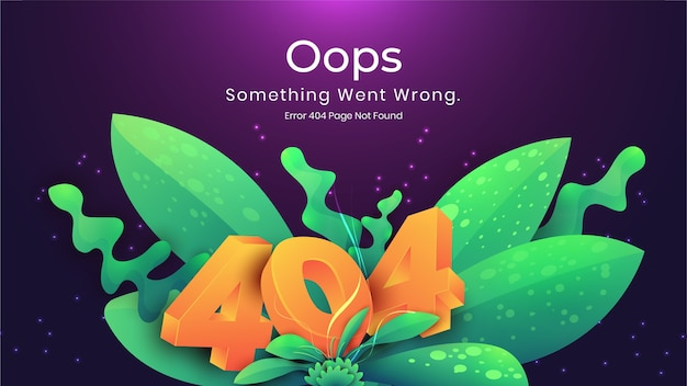 Oops 404 error page not found natural dark concept. error landing page for web page missing