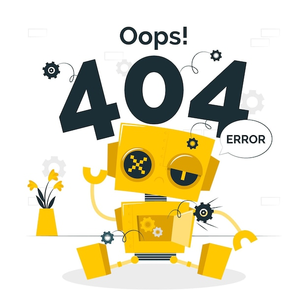 Oops! 404 error with a broken robot concept illustration