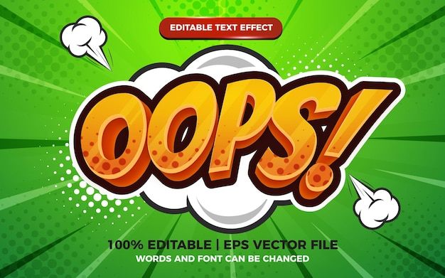 Oops comic cartoon text effect on halftone comic background