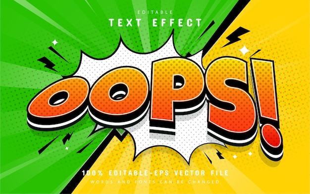 Oops comic text effect editable