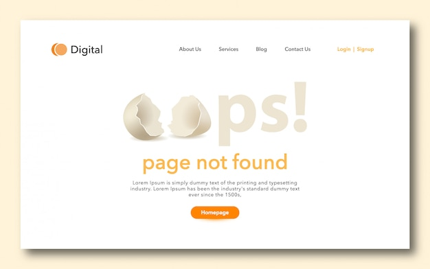 Oops page not found landig page design