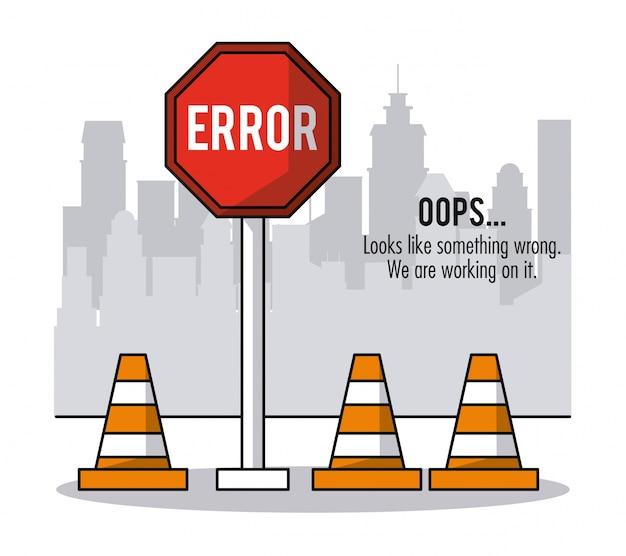 Фон города с конусами трафика и дорожной знак ошибка oops