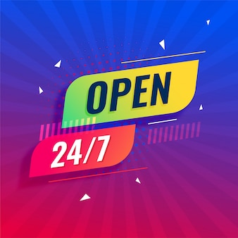 Open 24/7 all days modern signboard