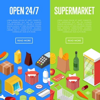 Open 24/7 supermarket shopping isometric banner web set