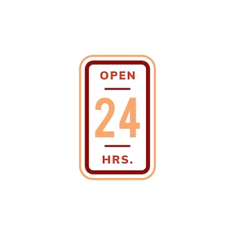 Open 24 hours banner sign illustration