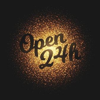 Open 24 hours golden particles vector background