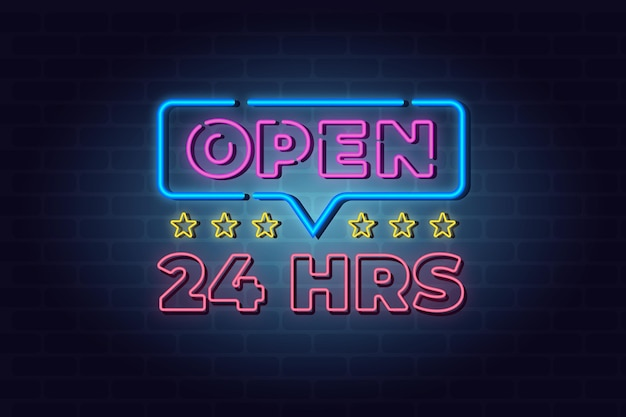 Open 24 hours neon sign Free Vector