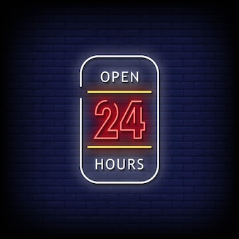 Текст в стиле неоновых вывесок 24 часа
