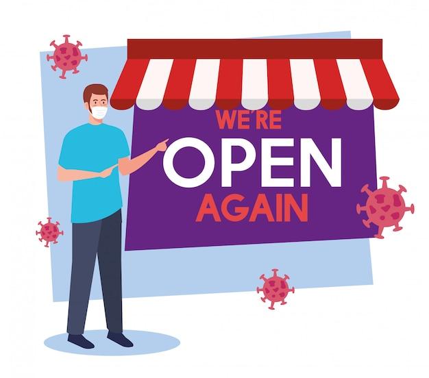 Откройте снова после карантина, открытия магазина, человек с этикеткой, мы снова открыты