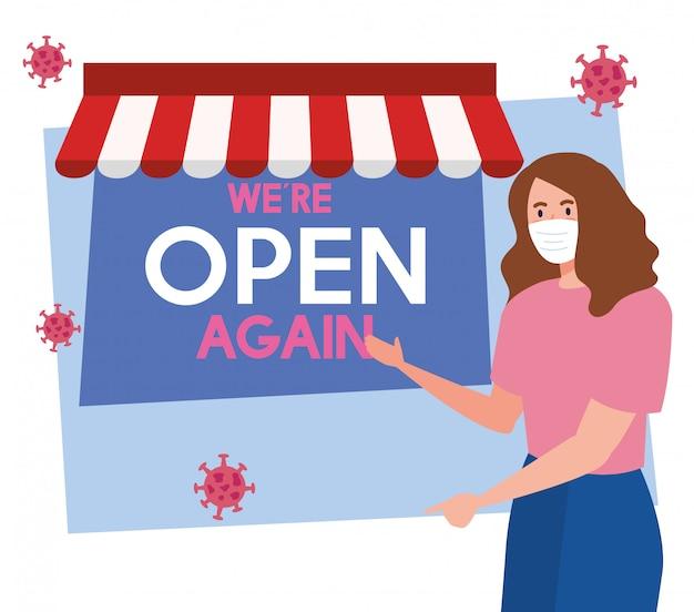 Открыт снова после карантина, открытия магазина, женщина с этикеткой снова открыта