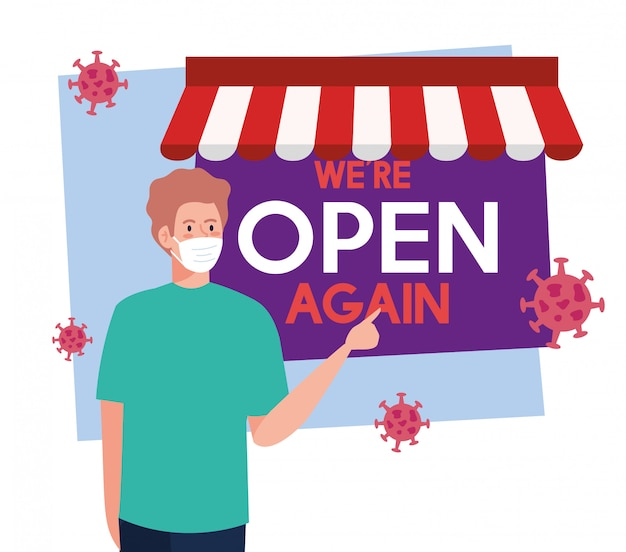 Open again after quarantine, reopening of shop, man with label of we are open again
