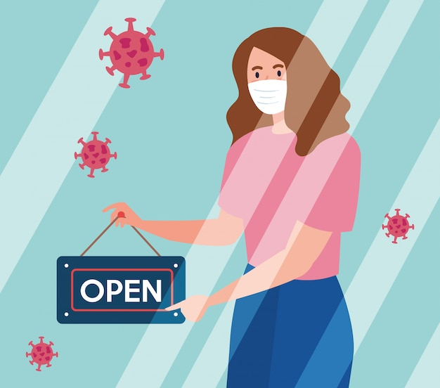 Open again after quarantine, woman with label of reopening of shop, we are open again
