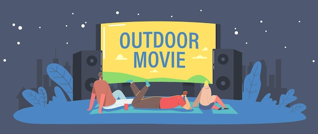 ハウス裏庭またはシティパークコンセプトのオープンエアシネマ。キャラクターは屋外映画館で友達と夜を過ごします。サウンドシステムを備えた大画面で映画を見ている人々。漫画のベクトル図