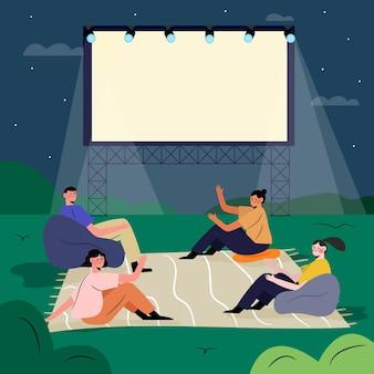 Illustrazione del cinema all'aperto