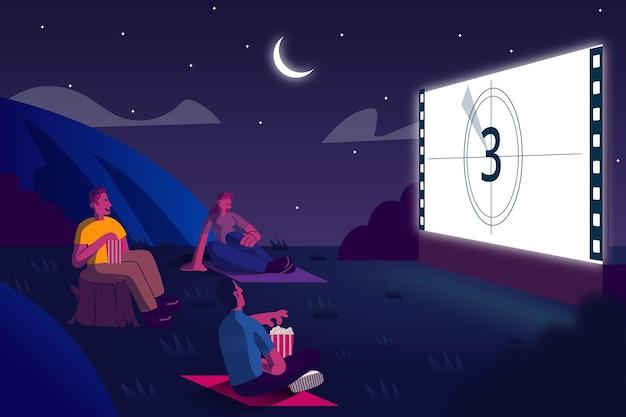 야간 야외 영화관