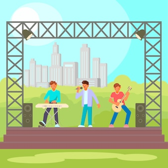 Open-air concert flat illustration