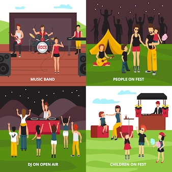 Open air festival design concept with flat people characters dancing playing music relaxing in camping park