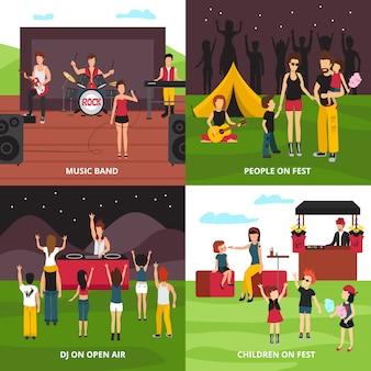 Концепция дизайна фестиваля под открытым небом с плоскими персонажами, танцующими, играющими музыку, отдыхающими в кемпинг-парке