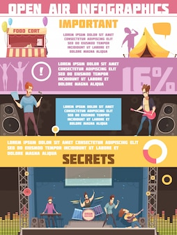 Open air festival infographic retro cartoon poster with camping tips rules and information on performers