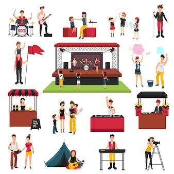 Фестиваль под открытым небом, коллекция изолированных значков с человеческими героями, посетителями семей, музыкантами, содовыми придурками