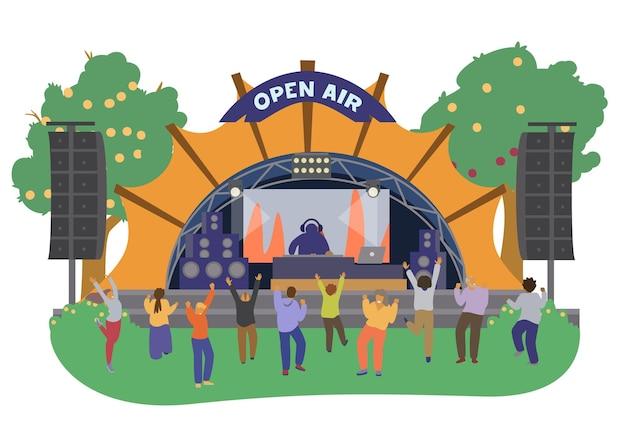 Музыкальная сцена фестиваля под открытым небом с ди-джеем и танцующими людьми. плоский рисунок. изолированный на белизне.