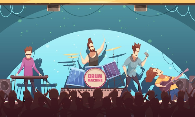 Open air festival rockband live music onstage performance retro cartoon banner with electronic instruments and audience