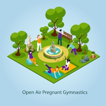 Open air gymnastics for pregnant illustration
