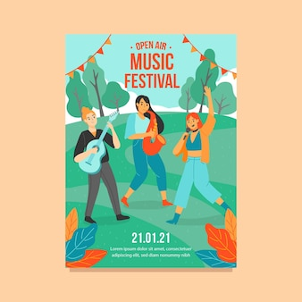 Open air music festival poster template illustrated