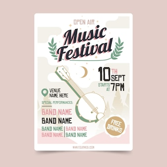 Open air music festival poster template
