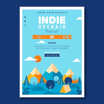 Open air music festival poster template