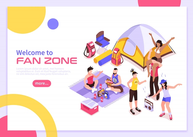 Open air music festival summer poster with invitation to visit fan zone isometric