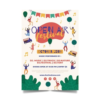 Open air music festival template flyer