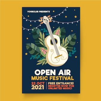 Open air music poster template