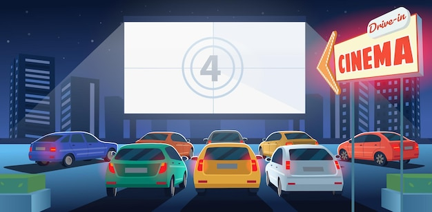 Open air parking car cinema drivein cinema theater at night cartoon illustration