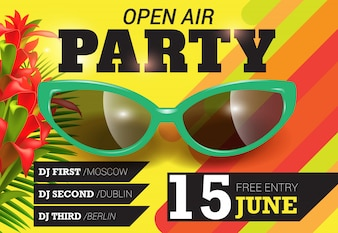 Open air, party, June fifteen lettering with green sunglasses. Summer invitation