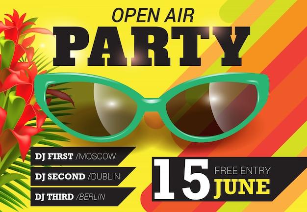 オープンエア、パーティー、6月15日のグリーンサングラス入りレター夏の招待状