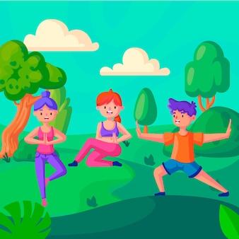Open air yoga class concept