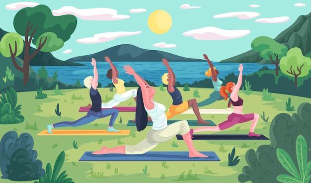 Концепция класса йоги на открытом воздухе