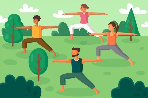 Open air yoga class illustration