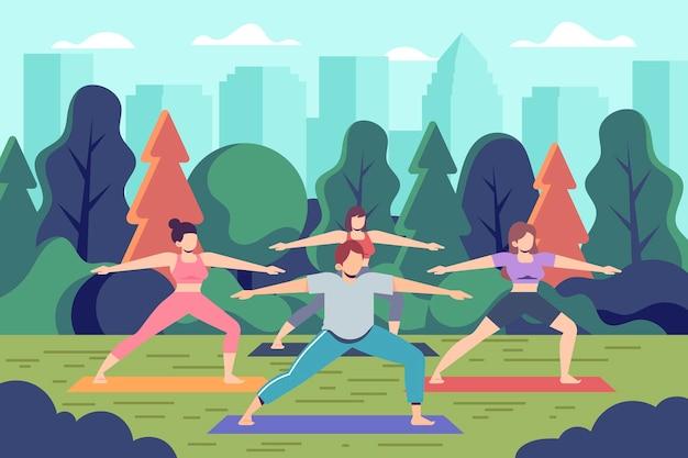 Иллюстрация класса йоги на открытом воздухе