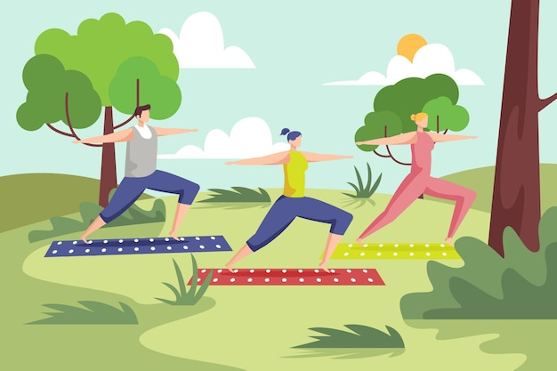 Open air yoga class illustration