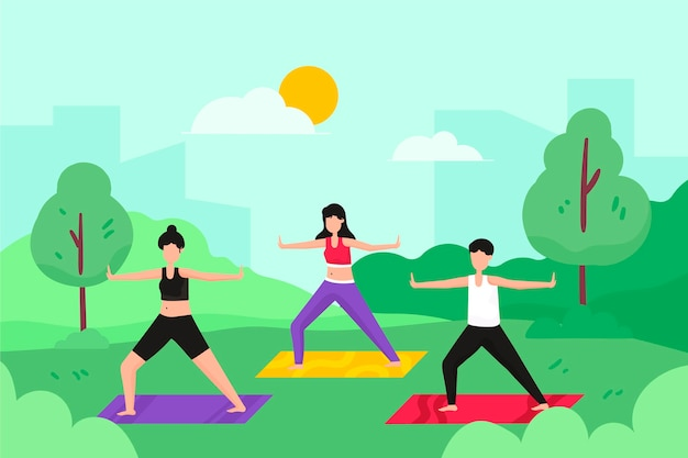 Illustrazione di classe di yoga all'aperto