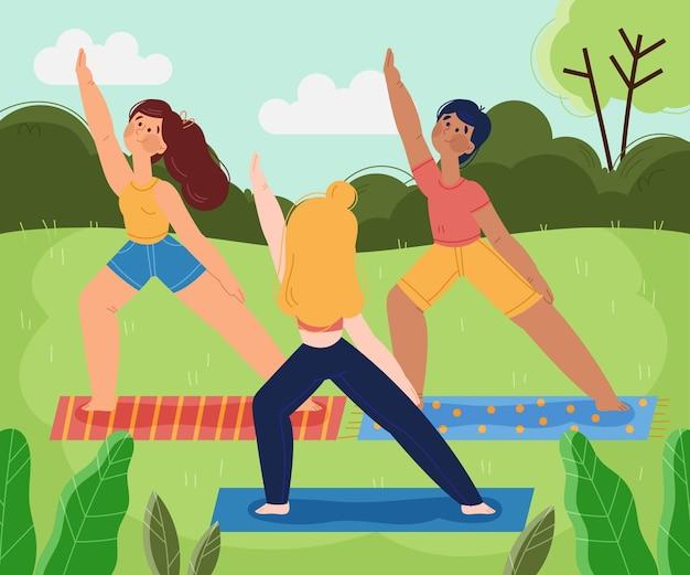 Open air yoga class